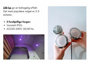 2 LED for rektangulær badestamp
