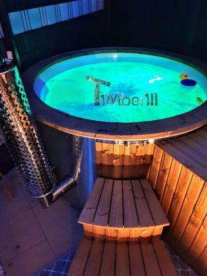 Badestamp i glassfiber med integrert ovn termo tre, sibirsk eik Wellness Royal (2)