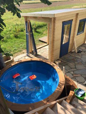 Badestamp i glassfiber med integrert ovn termo tre, sibirsk eik Wellness Royal