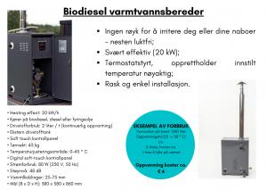 Biodiesel varmtvannsbereder for badestamp med ekstern varmeovn