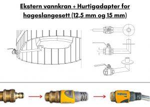 Ekstern vannkran Hurtigadapter for hageslangesett 12,5 mm og 15 mm