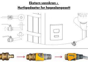 Ekstern vannkran + Hurtigadapter for hageslangesett for badestamp av tre