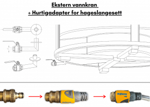 Ekstern vannkran + Hurtigadapter for hageslangesett for terrasse badestamp