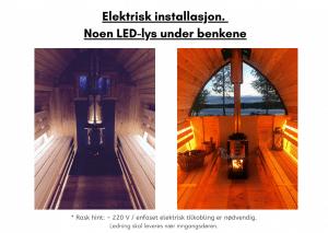 Elektrisk installasjon. Noen LED lys under benkene for utendørs badstue