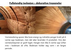 Fullstendig isolasjon + dekorative trepaneler for utendørs badstue