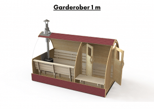Garderober 1 m for utendørs badstue