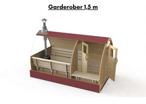 Garderober 1.5 m for utendørs badstue