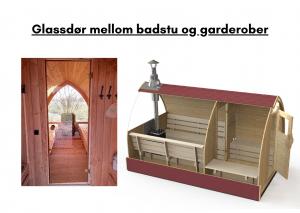 Glassdør mellom badstu og garderober for utendørs badstue