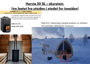 Harvia 20 SL + skorstein (tre lastet fra utsiden i stedet for innsiden) for utendørs badstue