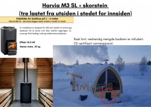 Harvia M3 SL + skorstein (tre lastet fra utsiden i stedet for innsiden) for utendørs badstue