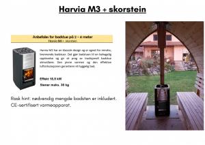 Harvia M3 + skorstein (allerede inkludert) for utendørs badstue