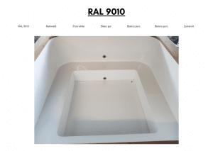 Hvit (RAL 9010) for rektangulær badestamp