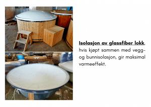 Isolasjon av glassfiber lokk for badestamp av tre
