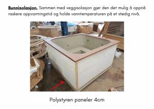 Isolering av gulv for rektangulær badestamp