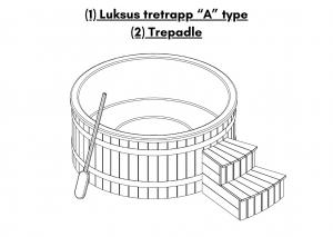 """Luksus tretrapp """"A"""" type for badestamp med ekstern varmeovn"""