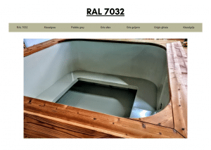 Lysegrå (RAL 7032) for rektangulær badestamp