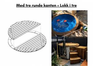 Med tre runde kanten + Lokk i tre for badestamp av tre