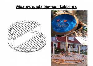 Med tre runde kanten i stedet for glassfiber + Lokk i tre i stedet i glassfiber for terrasse badestamp