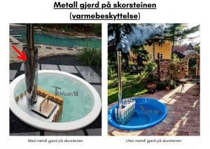 Metall gjerd på skorsteinen for terrasse badestamp