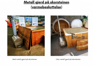 Metall gjerde på skorsteinen (varmebeskyttelse) for rektangulær badestamp