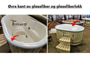 Ovre kant av glassfiber og glassfiberlokk