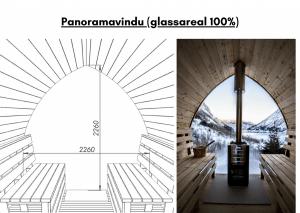 Panoramavindu (glassareal 100%) for utendørs badstue