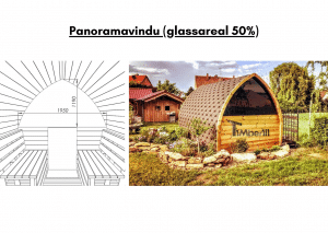 Panoramavindu (glassareal 50%) for utendørs badstue