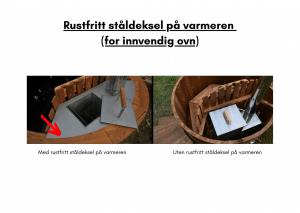 Rustfritt ståldeksel på varmeren (for innvendig ovn) for rektangulær badestamp