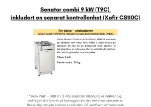 Senator combi 9 kW (T9C) inkludert en separat kontrollenhet (Xafir CS110C) for utendørs badstue