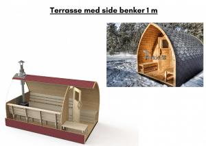 Terrasse med side benker 1 m for utendørs badstue