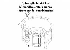Tre hylle for drinker; Metall skorstein gjerde; Trepann for vannblanding for badestamp av tre