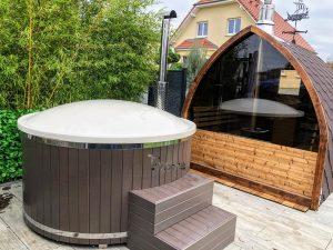 Utendørs trebastu for hage igloo design (1)