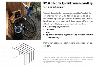Vannfilter + UV filter for kjemisk vannbehandling for badestamp av tre