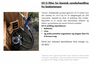 Vannfilter + UV filter for kjemisk vannbehandling for terrasse badestamp