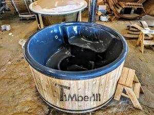 Badestamp i glassfiber med integrert ovn Sibirsk gran, lerk [Wellness Deluxe] (12)