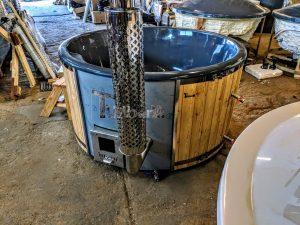 Badestamp i glassfiber med integrert ovn Sibirsk gran, lerk [Wellness Deluxe] (6)
