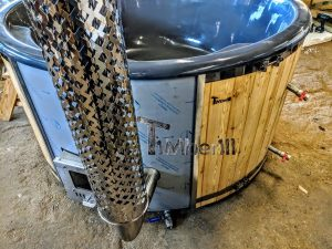 Badestamp i glassfiber med integrert ovn Sibirsk gran, lerk [Wellness Deluxe] (7)