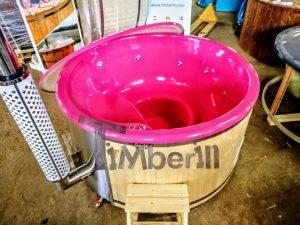 Badestamp i glassfiber med integrert ovn levende farger (2)