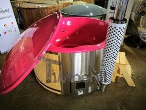 Badestamp i glassfiber med integrert ovn levende farger (3)