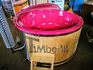 Badestamp i glassfiber med integrert ovn levende farger (4)