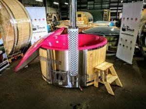 Badestamp i glassfiber med integrert ovn levende farger (7)