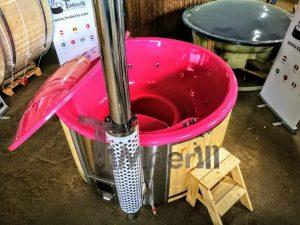 Badestamp i glassfiber med integrert ovn levende farger (9)
