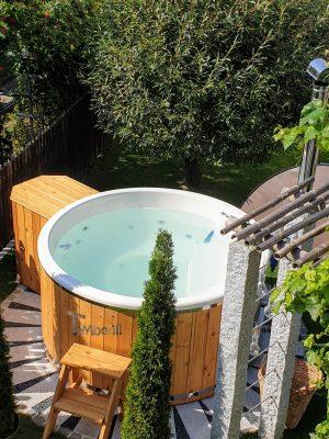 Utendørs vedfyrt badestamp i glassfiber (3)