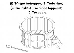 (1) B type tretrapper; (2) Trebenker; (3) Tre lokk; (4) Tre runde toppkant; (5) Tre padle
