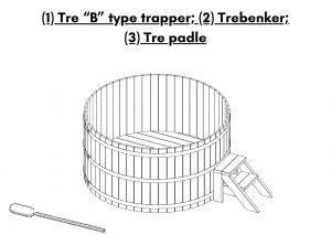 (1) Tre B type trapper (2) Trebenker (3) Tre padle