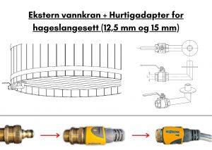 Ekstern vannkran + Hurtigadapter for hageslangesett (12,5 mm og 15 mm)