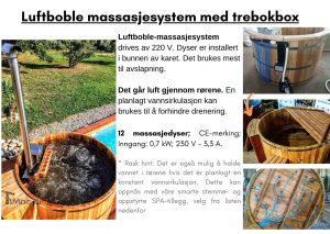 Luftboble massasjesystem med trebokbox