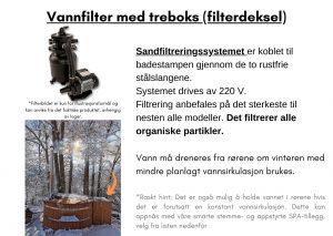 Vannfilter med treboks (filterdeksel)