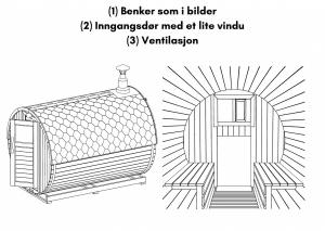 Benker som i bilder; Inngangsdør med et lite vindu; Ventilasjon til tunsa badstuen