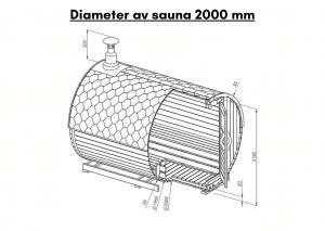 Diameter av sauna 2000 mm til tunsa badstuen